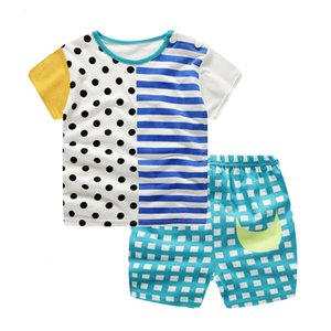 Free Shipping Fashion Lovely Baby S Infant Baby Boy Girl Stripe Dot Printed Short Sleeve Shirt + Shorts Outfit Set Z0130