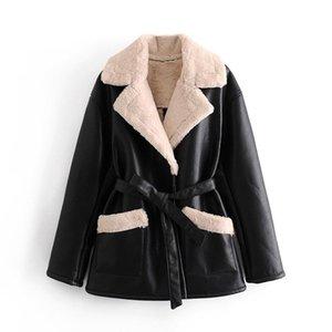 Fashion Winter Black Jacket Women Long Sleeve Lamb Fur And Faux Leather Coat Female Bandage Elegant Coat Outerwear