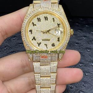V3 versão de atualização 126333 126334 116244 Diamonds árabes Dial ETA A2824 Automatic Mens Watch 904L Aço Diamante Iced Out completo Ouro Caso Relógios