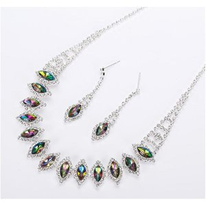 2017 New Silvery Plated Multicolor Austrian Crystal Chain Necklace + Earrings Jewelry Sets Shipping Women Jewellery Kro0H