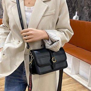 Kore Moda Geniş Omuz Askısı Küçük Kare Çanta Kadın 2021 PU Günlük Rahat Dating Shopper Çanta Lady Crossbody Siyah