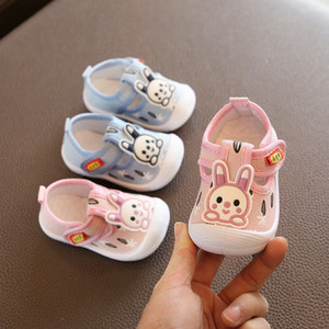 Baby Boy Casual Shoes Blue Pink Cute Rabbit Pattern Newborn Infant Baby Girl Shoes Toddler Moccasins Squeaky Shoes D02082 201026