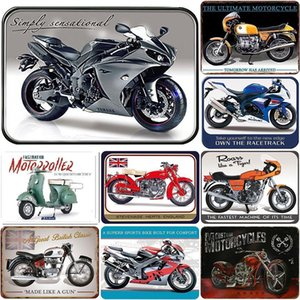 Retro Motorcycle Tin Sign Decor Metal Board Paintings Plaques For Bar Cafe Garage Iron Plate Posters Wall Sticker