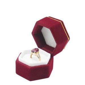 Hexagonal Velvet Jewelry Boxes Valentine Day Ring Box Plastic Ring Storage Box Jewelry Display Holder For Ring Earrings Xmas Gift 42 K2