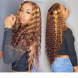 Curly Human Hair Wig Honey Blonde Ombre 13x1 Brazilian Brown Color Deep Water Wave Hd Full Frontal Highlight Bob Lace Front Wigs