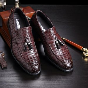 M-anxiu nappa intrecciata scarpe modello di cuoio genuini Slip-on fannulloni Men Casual Shoes commerciali vestito convenzionale