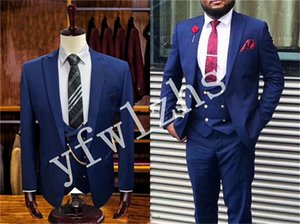 Custom-made One Button Groomsmen Peak Lapel Groom Tuxedos Men Suits Wedding Prom Dinner Best Man Blazer(Jacket+Pants+Tie+Vest) W633