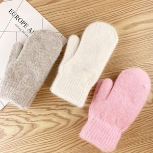 Double-Layer Hair Gloves Female Winter Korean Version Of Solid Color All Fingers Winter Women Gloves Girls Mittens