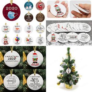 2020 Noel Süsler Seramik kolye 3 İnç Yuvarlak Yılbaşı Ağacı Süsler Santa bir Maske Noel Süsleri XD24016 Aşınma