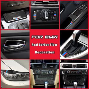 Real Carbon Fiber Car Interior Door Handle Cover Trim Door Bowl Sticker For BMW E90 E92 E93 3 Series Accessories