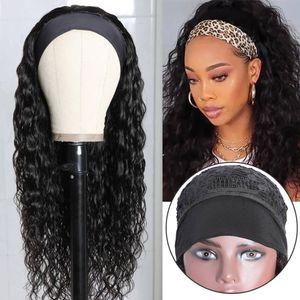 headband wigs 100% HumanHair Grip Headband Scarf Wig Water Wave Human Hair Wigs No plucking wigs for Women No Glue No Sew In