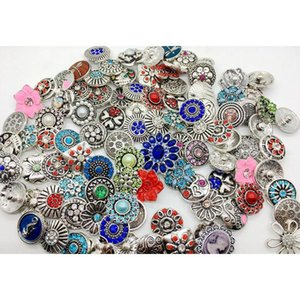 Wholesale 50pcs Lots 18mm Snap Button Mixed Style Metral Rhinestone Ginger Snap Jewelry Sanps Chunk Button For N wmtLYL queen66