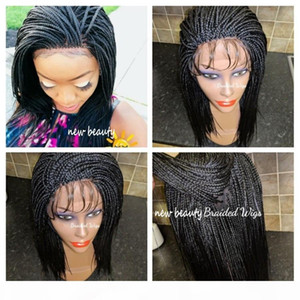 250% Density! brazilian full lace Short Braids Wig for black women natural black brown lace front synthetic Braided Wig with baby hair