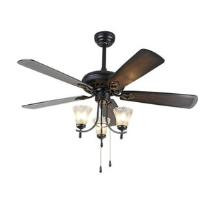 Ceiling Fans with Lights 110V Glass Lampshade Wooden Fan Led Home Lights Fixture 52 inch European Style Lamp Dinning Room 20V