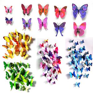 Külkedisi kelebek 3d kelebek dekorasyon duvar çıkartmaları 12pc 3d kelebekler 3d kelebek pvc çıkarılabilir duvar çıkartmaları butterflys GWC3529