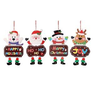 Ventana de Navidad Bienvenido Colgante Feliz Navidad Papel de Santa muñeco de nieve Elk Diseño Oso Decoración colgante para la ventana de la puerta