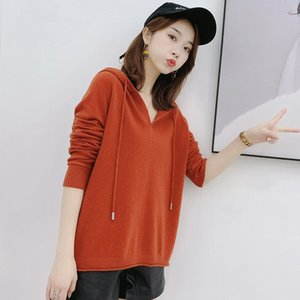 Women's Casual Solid Hooded Pocket Long Sleeve Pullover Sweatshirt Top Blouse For FemaleBlack 201007