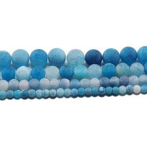 1Strand Lotto 4 6 8 10 12 mm Stone Weathering Round Spacer Spacer Ballo Frost Crab Agate Perline per gioielli Making fai da te Collane H Bbylmi