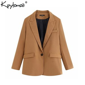 Vintage elegante bolsillos oficina señora blazers abrigo mujer moda muesca cuello manga larga ropa exterior casual chaqueta mujer y200107