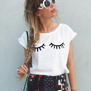 Funny New Summer Short Sleeve Eyelashes T shirt Cute Eyes Casual Tops Tees Harajuku Print T shirt