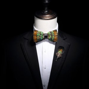 free shipping men's male fashion Natural feather custom peacock gold piece high-end wedding ceremonial party bow tie set