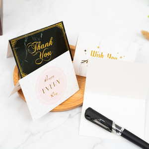 Bronzing Thank You Greeting Card Wedding Birthday Gift Valentine Day New Year Greeting Card with Envelope