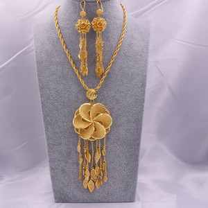 Dubai 18K gold color Jewelry sets for Women Indian Ethiopia Necklace Pendant Earrings set Africa Saudi Arabia wedding Party gift
