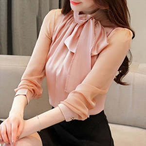 2021 New Fashion Autumn Womens Tops And Blouses Shirts Long Sleeve Bow Chiffon Winter Turtleneck Solid Women Clothing 0599 45