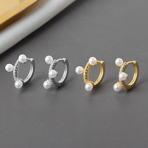 925 Sterling Silver Round Pearl Charms Stud Earrings For Women Girls Wedding Party Jewelry eh1149