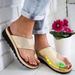 Women Sandals PU Leather Shoes Platform Flat Sole Ladies Casual Soft Big Toe Foot Correction Sandals Orthopedic Bunion Corrector