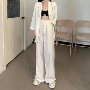 White Suit Women Blazer Set 2021 Korean Fashion Chic Blouse Tops Loose Jacket Wide Leg Casual Pants 3 Piece Set Summer Outfits