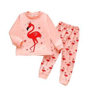 Ragazze dei capretti fumetto Outfits Flamingo Top stampati Camicie ragazze a manica lunga bambino elastico dei pantaloni Teens vestiti casual Abiti 061024