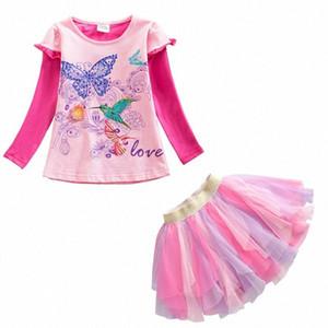 Conjuntos VIKITA Crianças Vestuário para meninas de algodão manga comprida Tops + tutu Suits saia 2pcs Crianças Primavera Outono Toddlers Vestuário h4Qe #