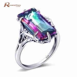Dreamcatcher Ring Rainbow Fire Mystic Topza Crystal Cocktail Ring Solid 925 Sterling Silver Women Vintage Evening Party Jewelry J190611