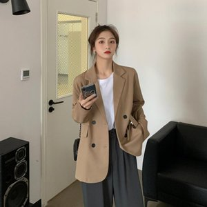 2021 Vintage Autumn Notched Collar Office Blazer Ladies Double Breasted Slim Work Wear Suit Jackets for Women JK431