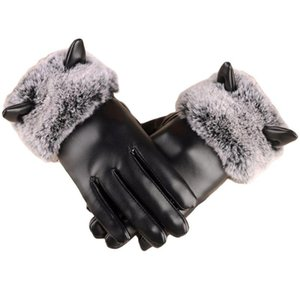 Women Winter Warm Touch Screen Gloves Faux Leather Thicken Plush Lining Trim Cute Cat Ears Windproof Driving Mittens