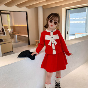 New fashion girls suits boutique girls outfits kids suits bowknot sweater+Pleated skirts 2pcs set princess girls clothes retail B2628