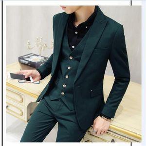 Latest Dark Green Men Suit For Wedding 3pcs(Jacket+Pant+Vest+Tie) Masculino Slim Fit Tuxedo Mens Suits Costume Homme Men Suits
