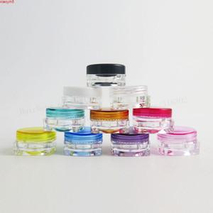 100 x 3g Mini Voyage Revillable Cosmétique Cosmétique Maquillage Cream Jar Échantillon Échantillon Conteneurs de bouteilles carrées PS MatérielPood Produit