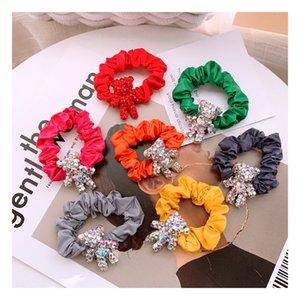 Corea caramelle studente di acquisto di colore del fumetto pie gioielli trapano anello elastico dei capelli del legame della testa testa a sfera selvatici