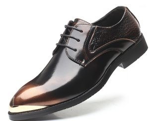 New European Fashion Men's lace dress shoes Sheet metal Men's formal wedding party shoes Homecoming Prom oxfords1