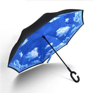 Yada Sky White Cloud Double Layer invertito ombrello per le donne inversione automatica Ombrelli antipioggia protezione UV Umbrella Yd095 qyligl