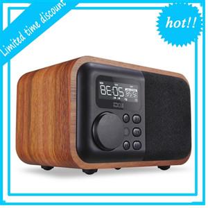 الوسائط المتعددة خشبية بلوتوث حر اليدين مكبر الصوت IBOX D90 مع راديو fm ساعة التنبيه TF / USB مشغل mp3 الرجعية الخشب مربع الخيزران مضخم صوت