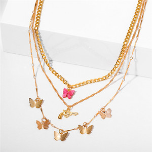2021 Trendy Multilayered Butterfly Pendan Necklace For Women Gold Chain Necklace Choker Necklaces Gifts Jewelry