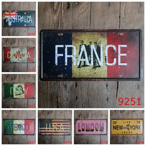 France USA New York London Canada Mexico Italy Australia Car Metal License Plate Vintage Decor Tin Sign Bar Pub Cafe Garage Metal Sign