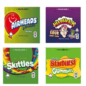 NEW 400MG 408MG Skittles Starburst Gummies WARHEADS Airheads Xtremes Medicated Sour Rainbow Gummy Bag Bites Seattle Edibles Zipper Package