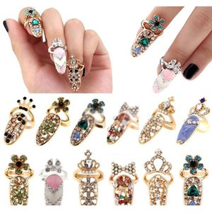 New Fashion Crystal Finger Rings Rhinestone Flower Crown Finger Nail Rings Cute Bowknot Nail Art Finger Ring For Gir bbyDGy bde_home