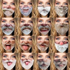 mascarilla Feliz Navidad Santa Claus con barba divertida serie mascarilla bruma cara diseñador de máscaras de los hombres las mujeres de polvo en stock