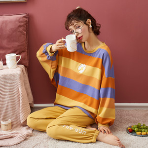 NIGHTWA Women Pajamas Set Autumn New Cartoon daisy Printed Long Sleeve Cute Sleepwear Casual Homewear Female Pyjamas Night suit 201027