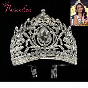 Miss Universe Philippines Crown Tiara Classic Silver Rhinestone Wedding Bridal Tiara Free Shipping RE998 C18112001